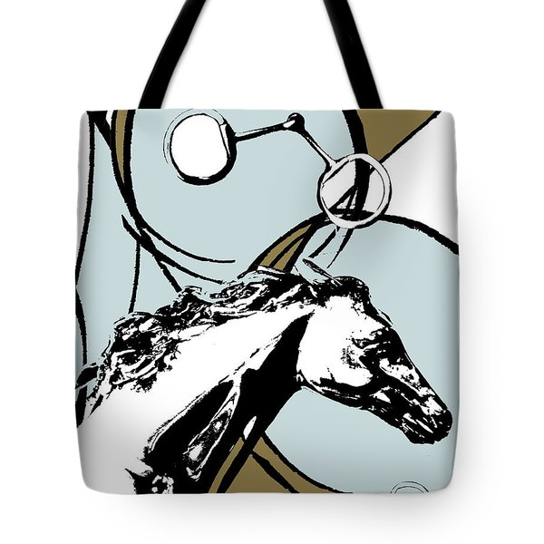 Horse Print Abstract In Blue And Brown Tote Bag by Anahi DeCanio