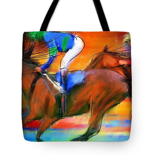 Horse Racing II Tote Bag by Lourry Legarde