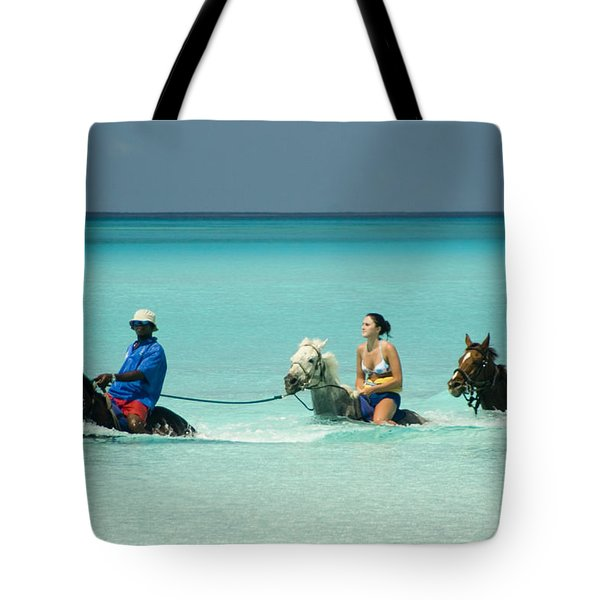 Horse Riders In The Surf Tote Bag by David Smith