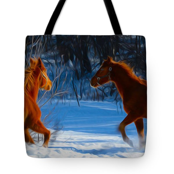 Horses at play Tote Bag by Tracy Winter