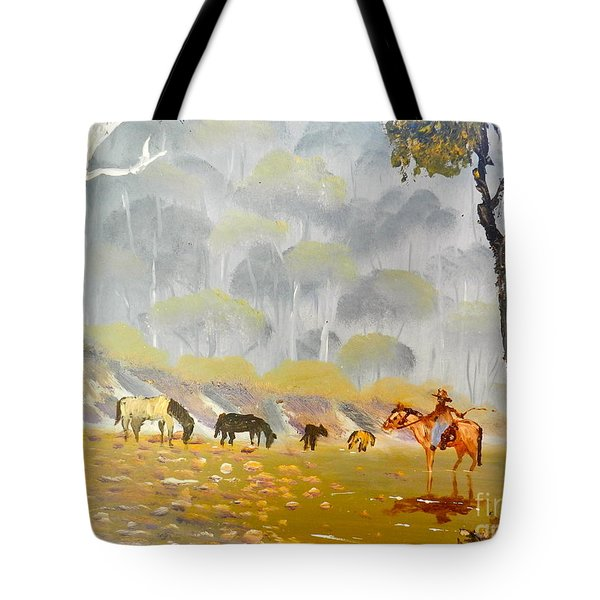 Horses Drinking In The Early Morning Mist Tote Bag by Pamela  Meredith