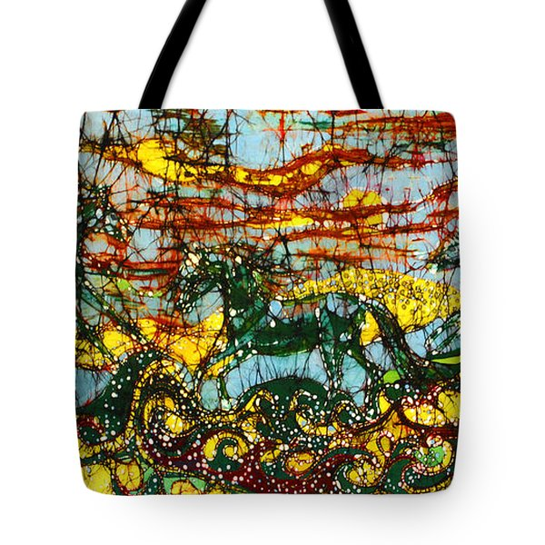 Horses Frolic Above The Sea Tote Bag by Carol Law Conklin
