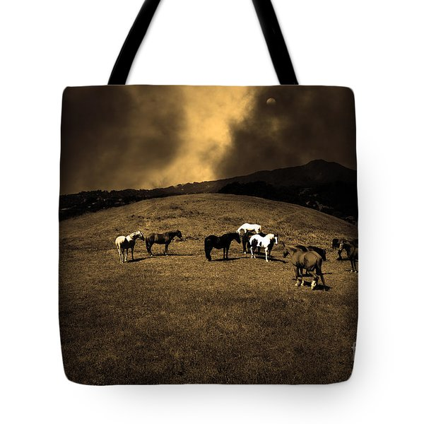 Horses of The Moon Mill Valley California 5D22673 sepia Tote Bag by Wingsdomain Art and Photography