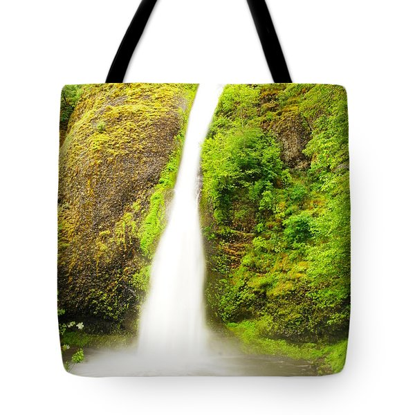 Horsetail Falls In The Spring Tote Bag by Jeff Swan