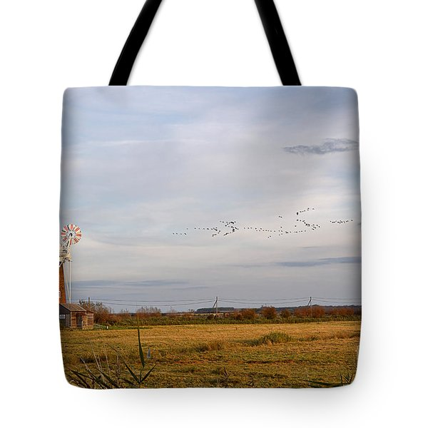 Horsey Windmill In Autumn Tote Bag by Louise Heusinkveld