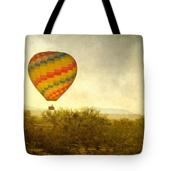 Hot Air Balloon Flight Over The Southwest Desert Fine Art Print  Tote Bag by James BO  Insogna