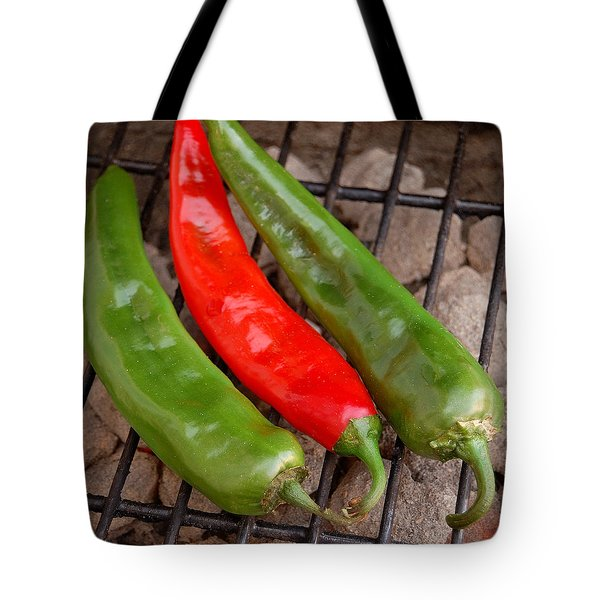 Hot And Spicy - Chiles On The Grill Tote Bag by Steven Milner