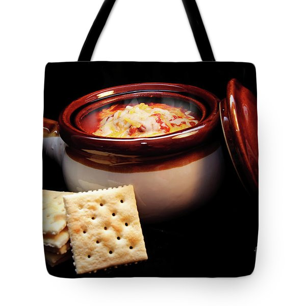 Hot Chili With Cheese And Crackers Tote Bag by Andee Design