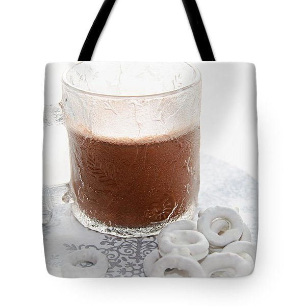Hot Chocolate And Candy Coated Pretzels Tote Bag by Andee Design