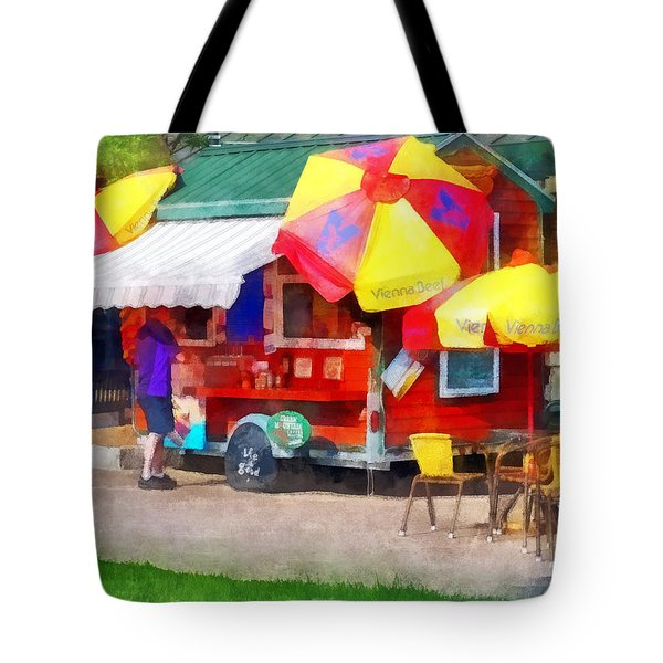 Hot Dog Stand In Mall Tote Bag by Susan Savad
