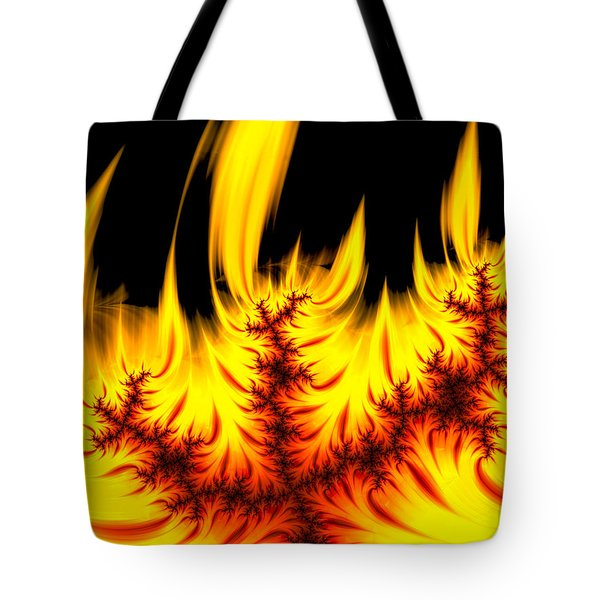 Hot Orange And Yellow Fractal Fire Tote Bag by Matthias Hauser