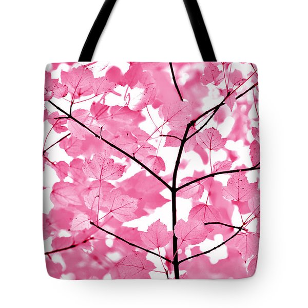 Hot Pink Leaves Melody Tote Bag by Jennie Marie Schell