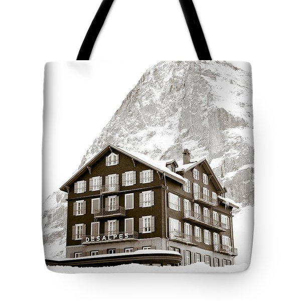 Hotel Des Alpes And Eiger North Face Tote Bag by Frank Tschakert