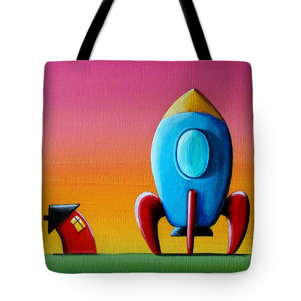 House Builds A Rocketship Tote Bag by Cindy Thornton