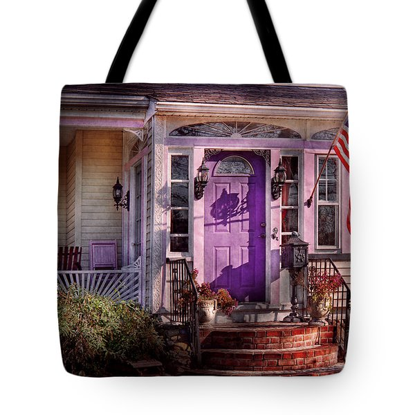 House - Porch - Cranford Nj - Lovely In Lavender  Tote Bag by Mike Savad