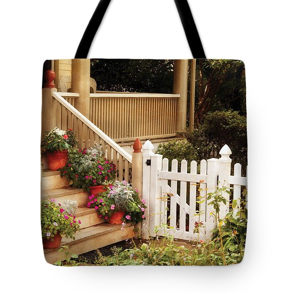 House - Rutherford Nj - My Grandmother's Garden  Tote Bag by Mike Savad