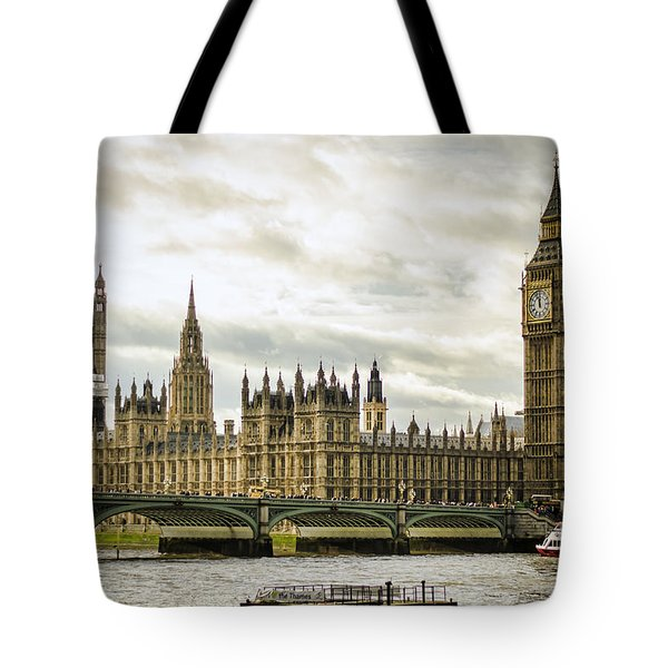 Houses Of Parliament On The Thames Tote Bag by Heather Applegate