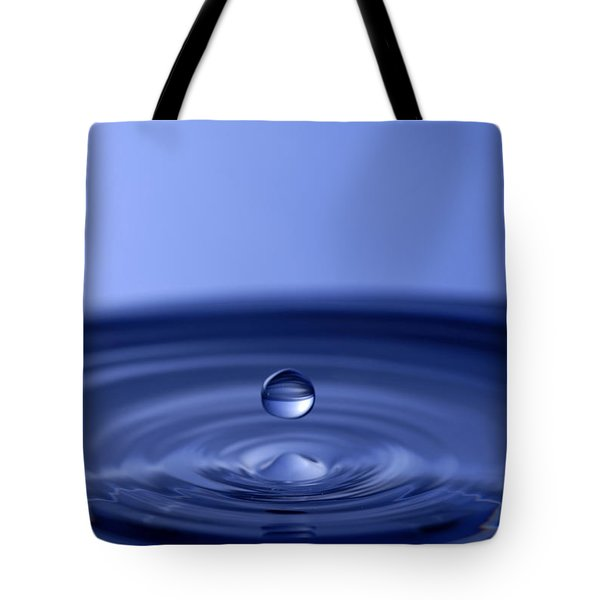 Hovering Blue Water Drop Tote Bag by Anthony Sacco