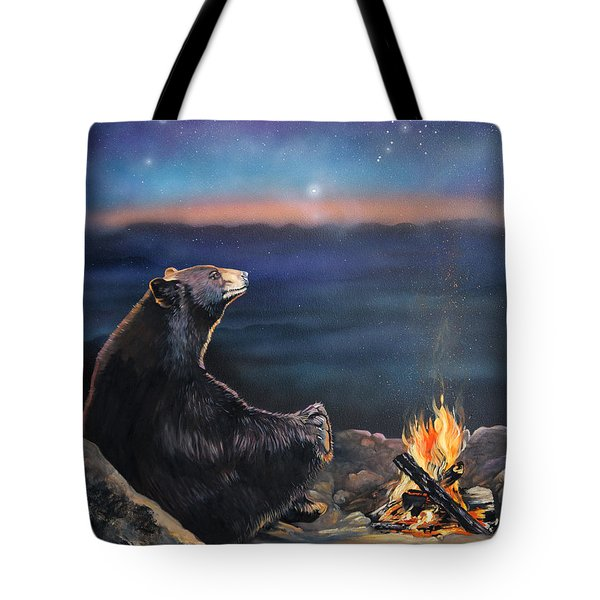 How Grandfather Bear Created The Stars Tote Bag by J W Baker