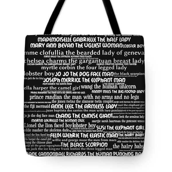 Human Carnival Sideshows And Other Oddities Of The World 20130625bw Tote Bag by Wingsdomain Art and Photography