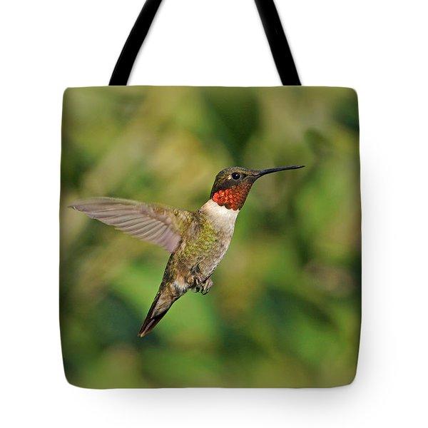 Hummingbird In Flight Tote Bag by Sandy Keeton