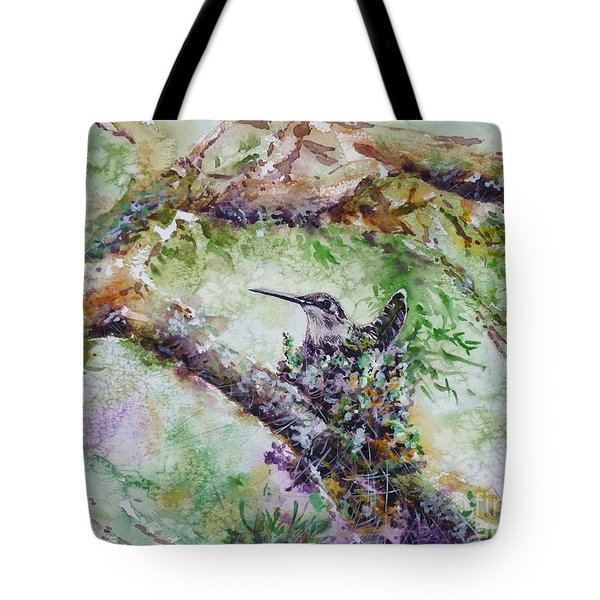 Hummingbird In The Nest Tote Bag by Zaira Dzhaubaeva