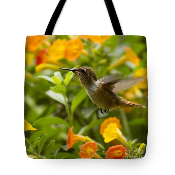 Hummingbird looking for food Tote Bag by Heiko Koehrer-Wagner