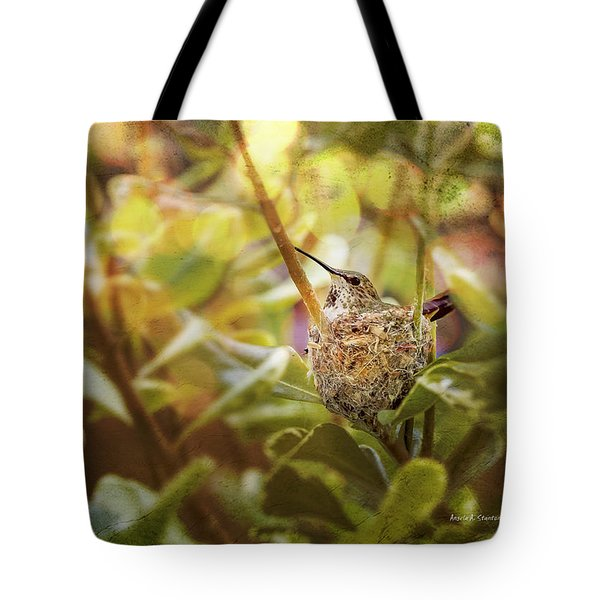 Hummingbird Mom In Nest Tote Bag by Angela A Stanton
