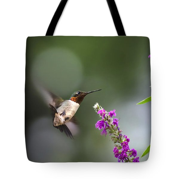 Hummingbird Somersault Tote Bag by Christina Rollo