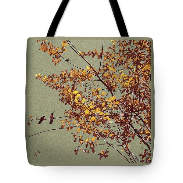 Hummingbirds On Yellow Tree Tote Bag by Ben and Raisa Gertsberg