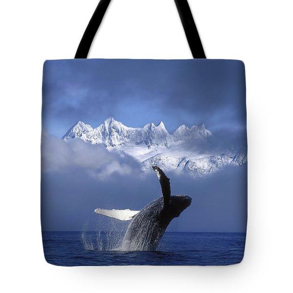 Humpback Whale Breaches In Clearing Fog Tote Bag by John Hyde