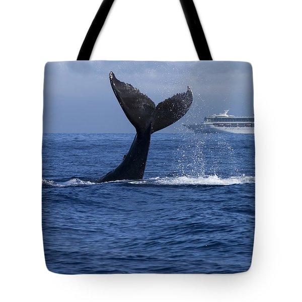 Humpback Whale Tail Lobbing In Maui Tote Bag by Flip Nicklin