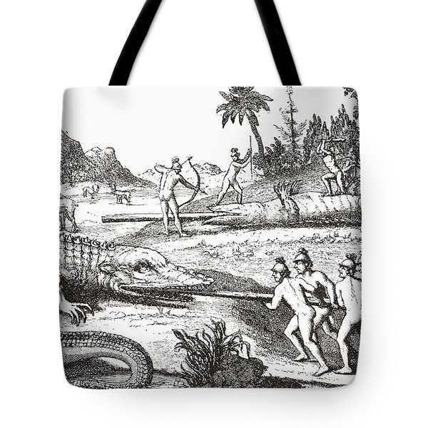 Hunting Alligators In The Southern States Of America Tote Bag by Theodor de Bry