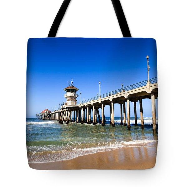 Huntington Beach Pier In Southern California Tote Bag by Paul Velgos