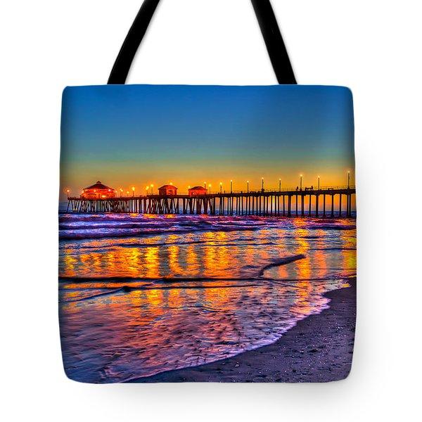 Huntington Beach Pier Sundown Tote Bag by Jim Carrell