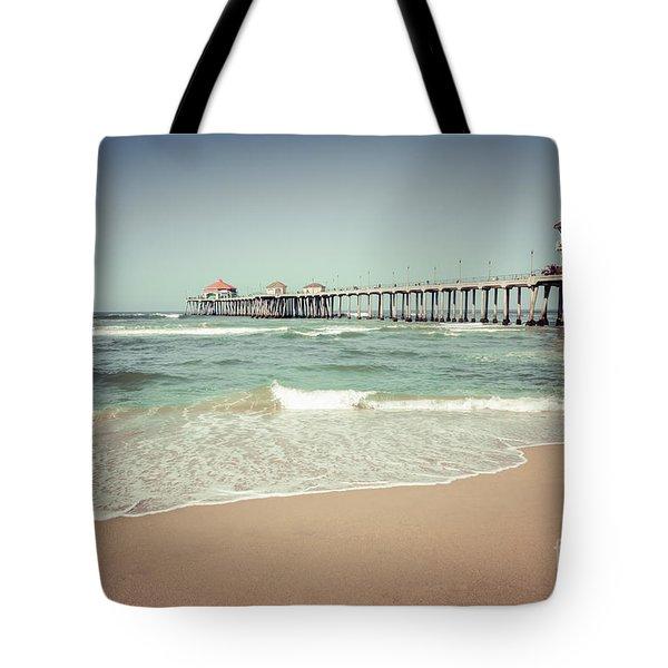 Huntington Beach Pier Vintage Toned Photo Tote Bag by Paul Velgos