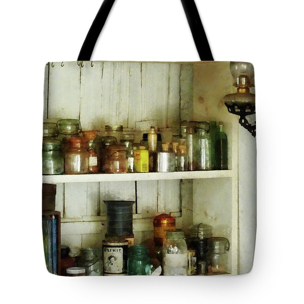 Hurricane Lamp in Pantry Tote Bag by Susan Savad