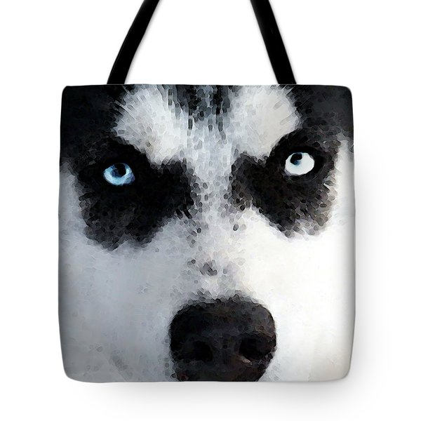 Husky Dog Art - Bat Man Tote Bag by Sharon Cummings