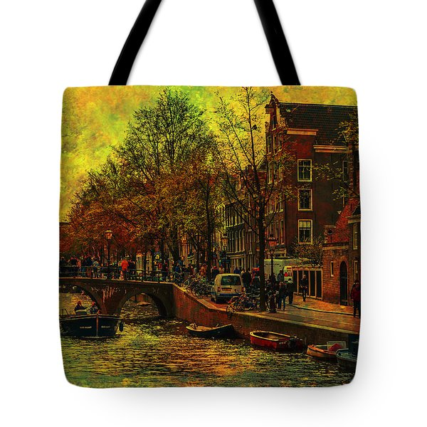 I Amsterdam. Vintage Amsterdam In Golden Light Tote Bag by Jenny Rainbow
