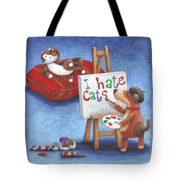 I Hate Cats Tote Bag by Peter Adderley
