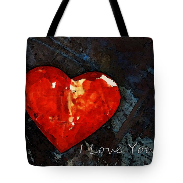 I Just Love You - Red Heart Romantic Art Tote Bag by Sharon Cummings