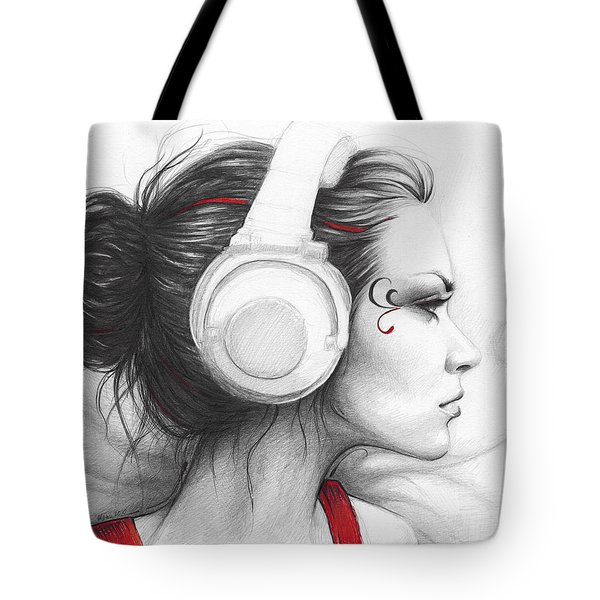 I Love Music Tote Bag by Olga Shvartsur