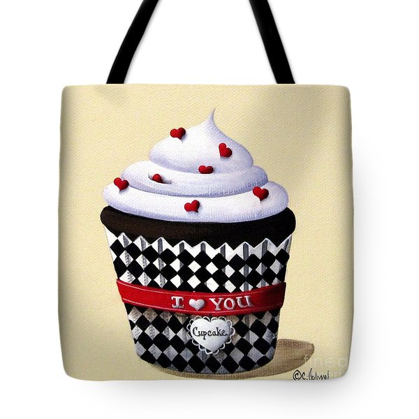 I Love You Cupcake Tote Bag by Catherine Holman