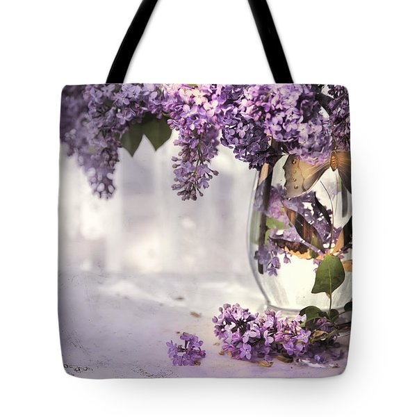 I Picked A Bouquet Of Lilacs Today Tote Bag by Theresa Tahara