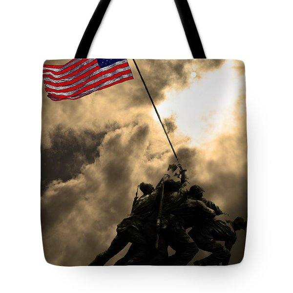 I Pledge Allegiance To The Flag - Iwo Jima 20130211v2 Tote Bag by Wingsdomain Art and Photography
