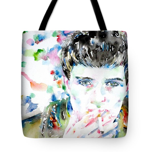 IAN CURTIS SMOKING CIGARETTE WATERCOLOR PORTRAIT Tote Bag by Fabrizio Cassetta