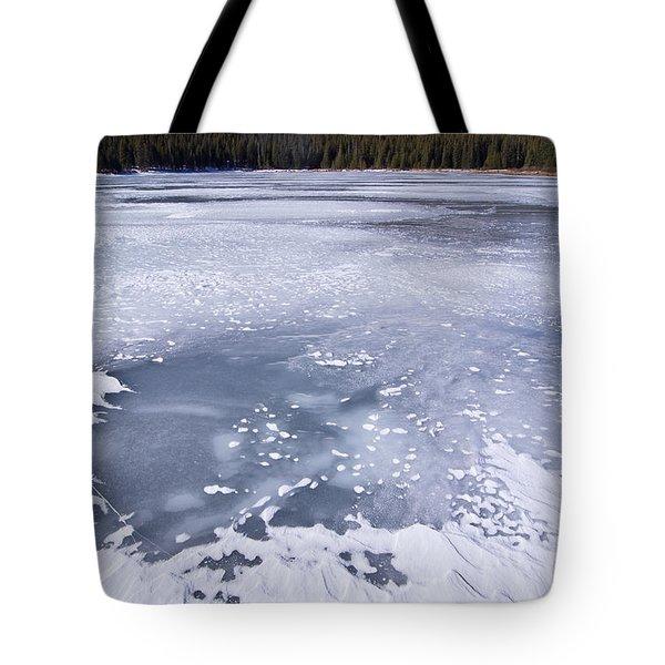 Ice And Snow Of Brainard Lake Tote Bag by Benjamin Reed