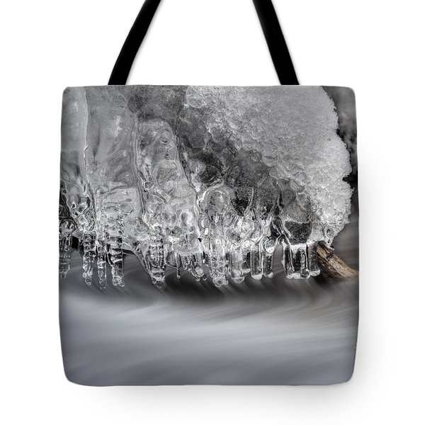 Ice Formation Above Stream Tote Bag by Dan Friend