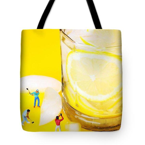 Ice Making For Lemonade Little People On Food Tote Bag by Paul Ge