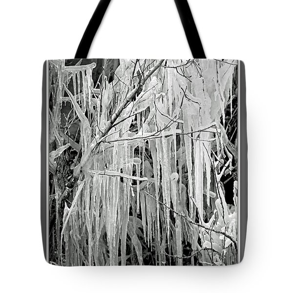 Icicles In Black And White Tote Bag by Carol Groenen